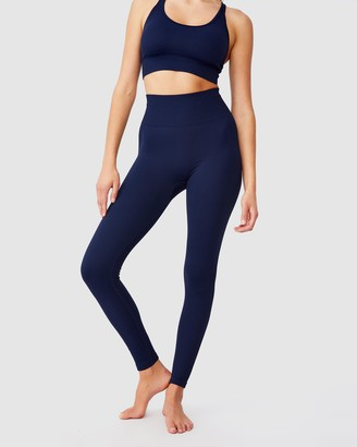 Cotton On Body Active - Women's Navy Tights - Lifestyle Rib Seamless Tights - Size XS at The Iconic
