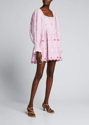 LoveShackFancy Freja Eyelet Puff-Sleeve Mini Dress