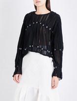 3.1 Phillip Lim Embellished pintucked silk-chiffon blouse