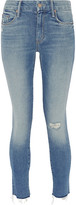 Mother Looker Distressed Mid-rise Skinny Jeans - Light denim