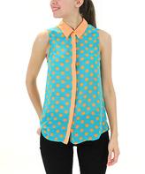 Blvd Orange & Teal Polka Dot Button-Up Top