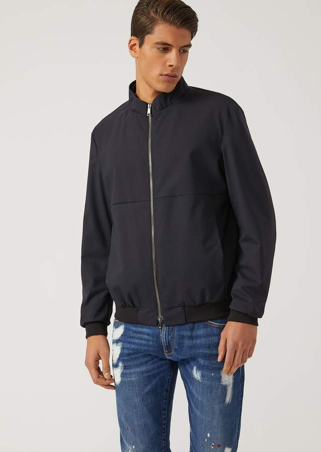 Emporio Armani Wool Blend Blouson With Coated Fabric Lining