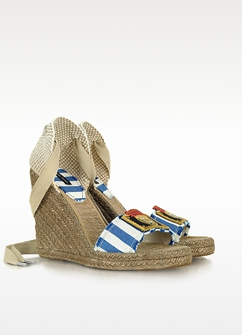 Marc Jacobs Striped Canvas Espadrille Wedge Sandal