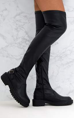 PrettyLittleThing Black PU Buckle Detail Chunky Over The Knee Boots