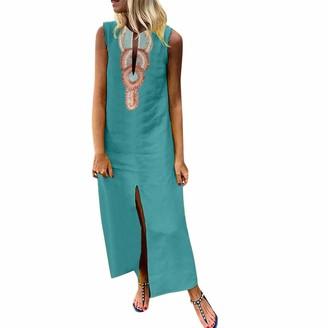 Ulanda Eu Womens Dresses Ulanda-EU Women Plus Size Maxi Dresses Ladies Bohemian Printed Sleeveless V-Neck Linen Dress Baggy Kaftan Split Long Dress Gray