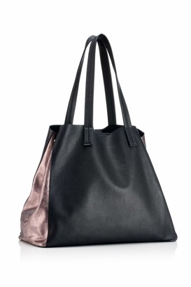 Hill & How Womens Large Tote Shoulder Bag Black (Black Leather/Pewter) 16x48x30 cm (W x H x L)