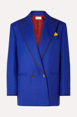 Sara Battaglia Double-breasted Grosgrain-trimmed Wool-blend Twill Blazer - Bright blue