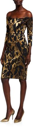 Trina Turk Eastern Gardens Jacquard Off-the-Shoulder 3/4-Sleeve Dress