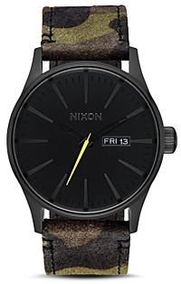 Nixon Sentry Camo Leather Watch, 42mm