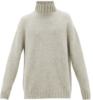Raey Funnel-neck Tweed-effect Cashmere-blend Sweater - White Multi