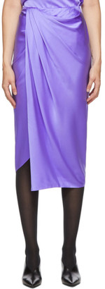 Helmut Lang Purple Silk Satin Ruched Skirt