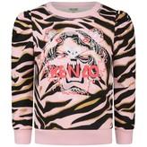Kenzo KidsGirls Pink Tiger Stripe Sweater