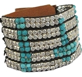 Nakamol Designs - Brown Leather Turquoise Bead Cuff