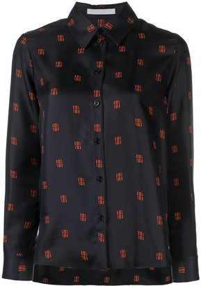 HUGO BOSS Monogram Print Silk Shirt