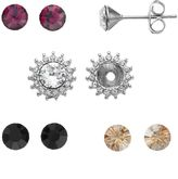 Brilliance+ Brilliance Silver Plated Interchangeable Floral Stud Earring Set with Swarovski Crystals