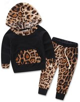 Balakie Baby Hoodie + Pants Set, Long Sleeve Leopard Print Tracksuit Outfits