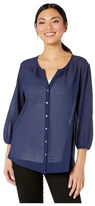 Tommy Bahama Lana Bay Gauze Top 3/4 Sleeve (Island Navy) Women's Clothing