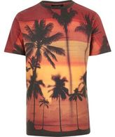 River Island MensRed tropical print T-shirt
