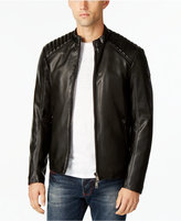 Armani Jeans Men's Eco Quilted Faux-Leather Bomber Jacket with Side Zip Pockets