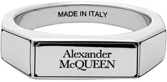 Alexander McQueen Silver Logo Signet Ring