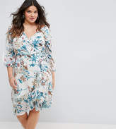 Boohoo Plus Floral Wrap Dress With Ladder Insert
