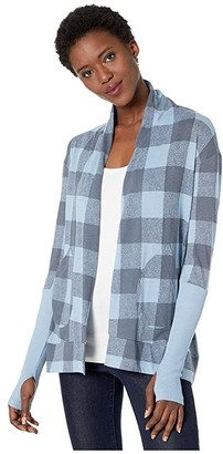 Alternative Eco Jersey Rib Sleeve Wrap (Blue Ice Buffalo Plaid) Women's Sweater