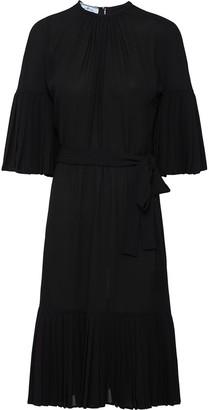 Prada sable chiffon pleated dress