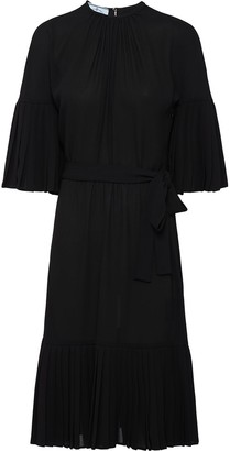 Prada Sable Chiffon Pleated Dress