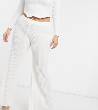 In The Style Plus x Lorna Luxe lullaby ribbed wide leg trouser co ord in ecru