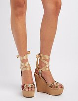 Charlotte Russe Embroidered Ribbon-Tie Wedge Sandals