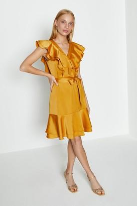 Coast Ruffle Neck Plain Dress
