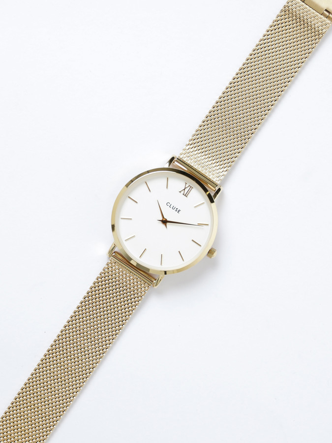 Cluse Womens Minuit Mesh 33mm Watch in Gold & White