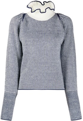 See by Chloe Striped Ruffled-Neck Jumper
