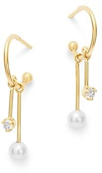 Zoë Chicco 14k Gold Cultured Freshwater Pearl & Diamond Dangle Hoop Earrings