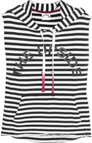 The Upside Recovery Printed Striped Cotton-terry Hooded Top - Navy
