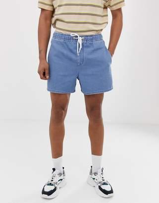 Asos Design DESIGN denim short shorts in mid wash blue with elasticated waist