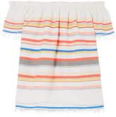 Lemlem Yodit Off-the-shoulder Striped Cotton-blend Gauze Top - Coral