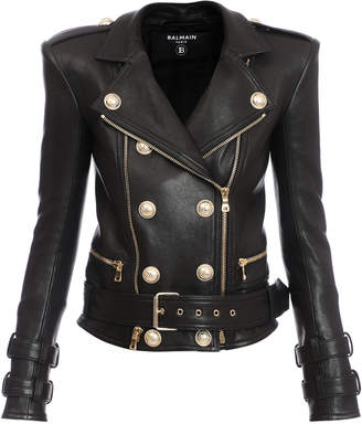 Balmain Structured Button-Front Leather Jacket