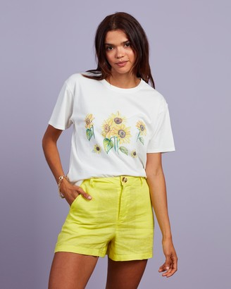 Cools Club - Women's White Printed T-Shirts - Sunflower Tee - Size 8 at The Iconic