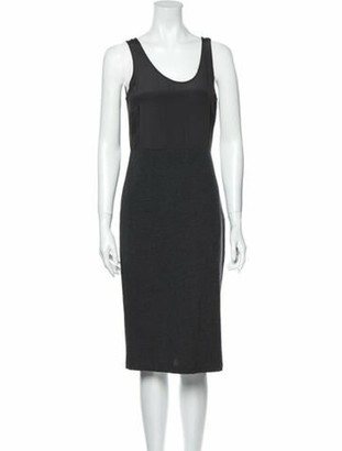 Brunello Cucinelli Scoop Neck Midi Length Dress Grey
