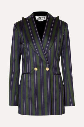 Loewe Frayed Striped Wool And Cotton-blend Blazer - Navy