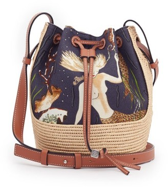 Loewe Paula's Ibiza - Mermaid-print Small Canvas And Raffia Bucket Bag - Black Multi