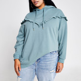 River Island Plus green frill chevron ribbed hoodie