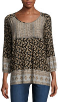 ONE WORLD APPAREL One World Apparel 3/4 Sleeve Scoop Neck Knit Blouse