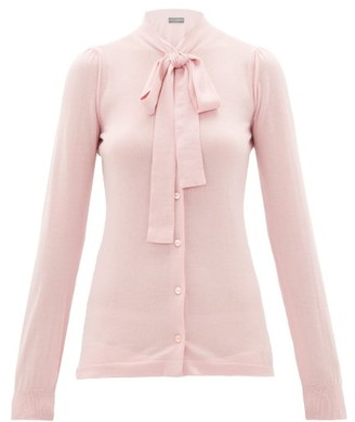 Dolce & Gabbana Pussy-bow Cashmere-blend Cardigan - Womens - Light Pink