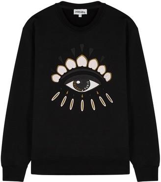 Kenzo Ecru eye-embroidered cotton sweatshirt