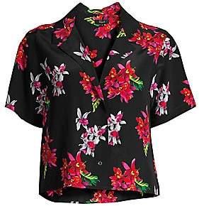 Rails Women's Maui Floral Silk Short-Sleeve Blouse