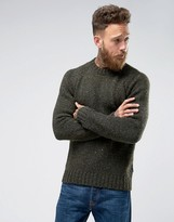 Barbour Netherby Donegal Crew Neck Jumper In Forest Green
