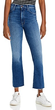 Mother The Hustler Frayed Flare Leg Ankle Jeans in Satisfaction, Guaranteed
