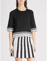Maje Minora striped-trim knitted top